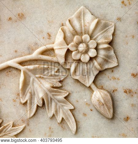 Taj Mahal, Detail Of Marble Wall, Flower Relief The Best Of Indian Historical Sights, Unesco