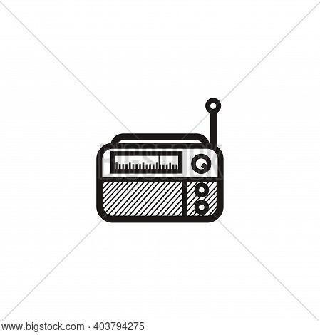 Classic Square Radio Silhouette Style - Black And White Vintage Square Radio Tuner - Vintage Classic