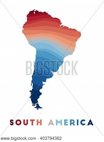 South America Map. Map Of The Continent With Beautiful Geometric Waves In Red Blue Colors. Vivid Sou