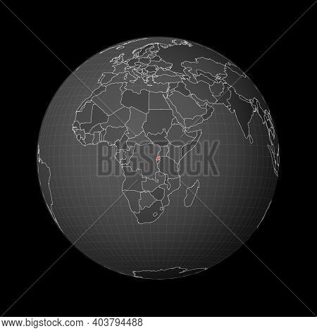 Dark Globe Centered To Rwanda. Country Highlighted With Red Color On World Map. Satellite World Proj
