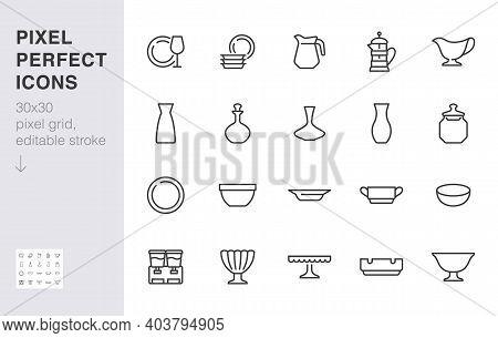 Glass Crockery Line Icon Set. Tableware - Plate, Jug, Dish, Ashtray, Salad Bowl, Decanter, Wineglass