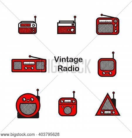 Classic Radio - White Vintage Square Radio Tuner - Vintage Classic Square Radio Isolated On White