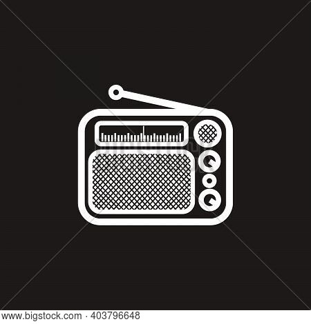 Silhouette Of Classic Square Radio Style With Antenna - Black And White Vintage Square Radio Tuner W