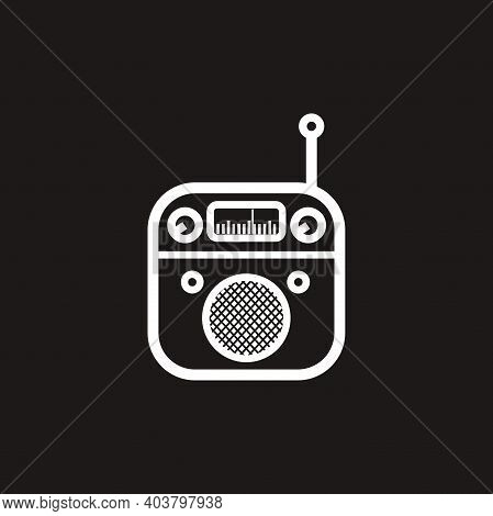 Silhouette Of Classic Square Portable Radio With Circle Speaker - Black And White Vintage Square Por