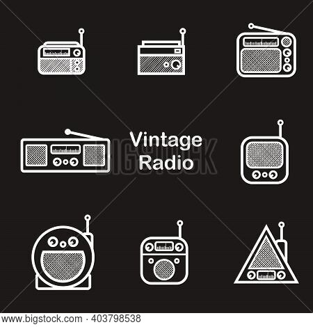 Classic Radio Silhouette Style - Black And White Vintage Square Radio Tuner - Vintage Classic Square