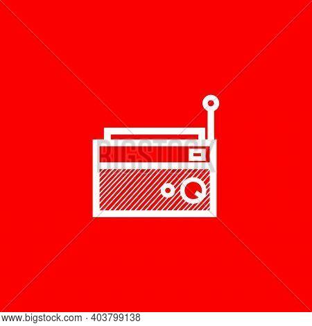 Simple Classic Square Radio Silhouette - Vintage Square Radio Tuner - Simple Vintage Classic Square