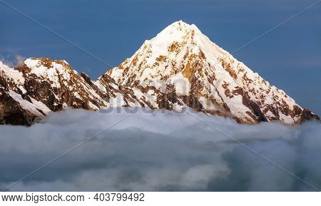 Evening View Of Mount Salkantay Or Salcantay In The Middle Of Clouds, View From Choquequirao Trekkin