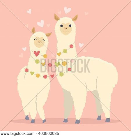 Valentines Day Flat Illustration. Be My Llamantine Card For With Cute Llama Alpaca And Hearts. Greet