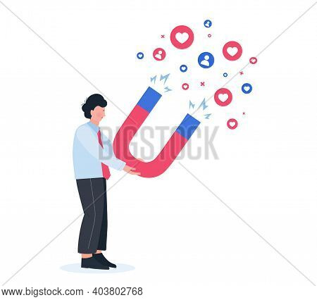 Man Attracting More Followers. Marketing Magnet Engaging Followers.