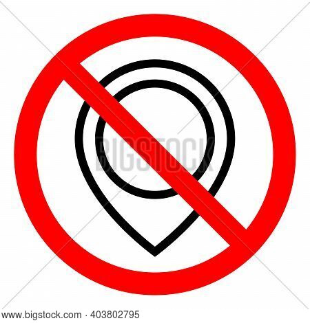 No Gps Icon. Map Pointer Ban Icon. Award Is Prohibited. Stop Or Ban Red Round Sign With Gps Pin Icon