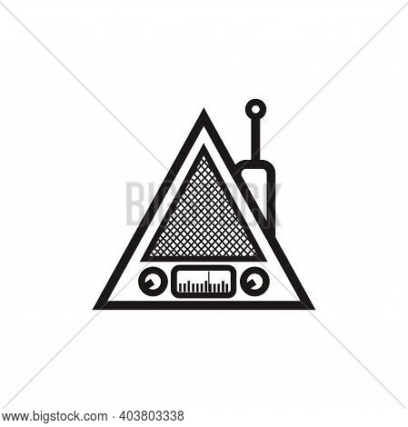 Silhouette Of Classic Triangle Portable Radio - Black And White Vintage Triangle Portable Radio Tune
