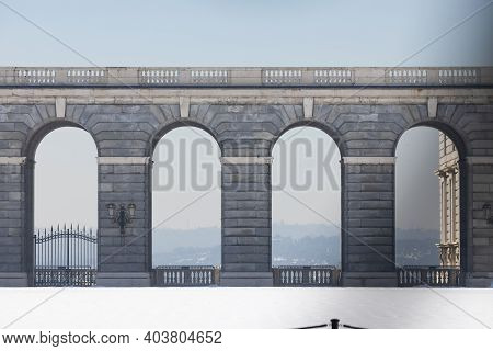 Madrid, Spain - January 17, 2021: Details Of The Royal Palace, With Its Main Esplanade, Still Covere
