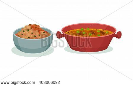 Different Dish And Main Courses Served In Bowl Vector Set