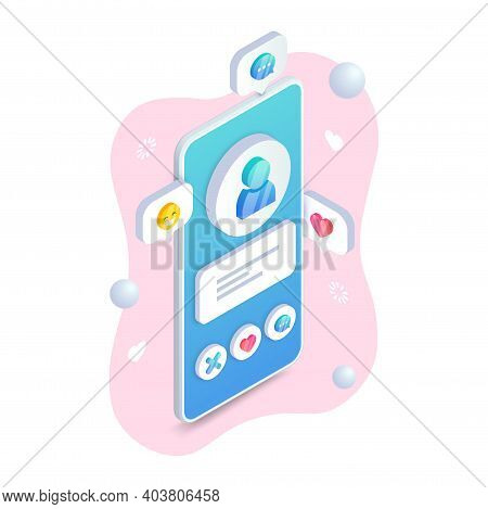 Dating App User Profile On Mobile Phone Screen. Online Dating Application Interface Isometric Concep