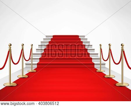 Red Carpet Event With White Marble Stairs And Gold Queue Rope Barriers Posts Stands Realistic Vector