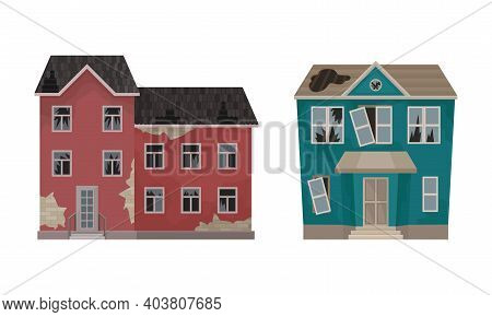 Abandoned Houses And Two-storeyed Buildings With Broken Windows And Ruined Roof Vector Set