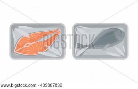 Salmon Steak And Fish In Plastic Serving Tray Vector Set