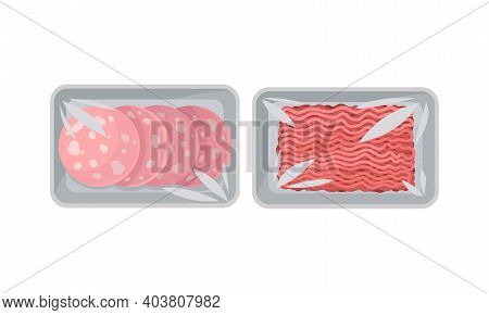Sliced Wurst And Raw Forcemeat In Plastic Serving Tray Vector Set
