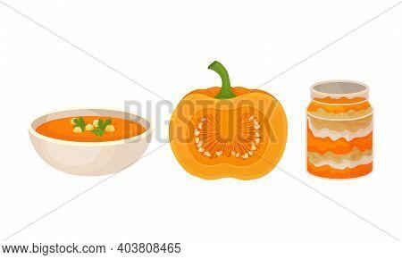 Pumpkin Foodstuff With Soup And Dessert In Glass Jar Vector Set