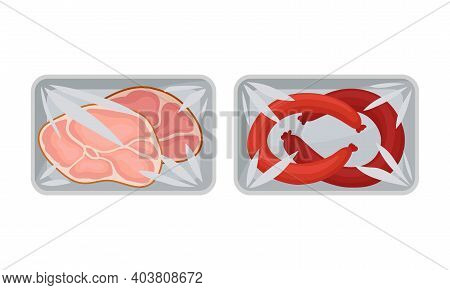 Sliced Wurst And Beef Slab In Plastic Serving Tray Vector Set