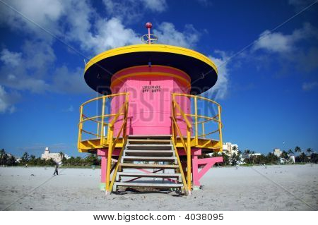 Pink Lifeguard Tower In South Beach