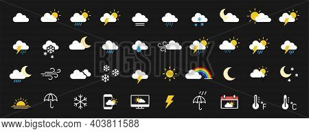 Set Of 40 Weather Web Icons In Line Style. Weather , Clouds, Sunny Day, Moon, Snowflakes, Wind, Sun