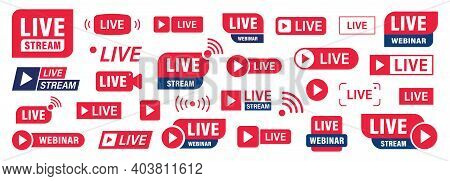 Set Of Live Stream Or Webinar Icons. Colored Button. Live Event. Stream, Webinar, Chat. Vector Illus