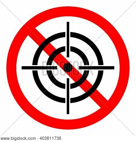 Hunting Ban Icon. Aiming Is Prohibited. Stop Or Ban Red Round Sign With Aim Icon. Vector Illustratio