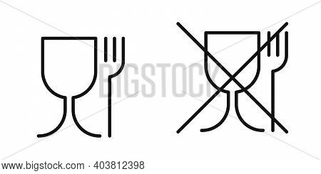 Not Food Grade Plastic Icon. Vector Sign Isolated. Hazardous Food Material. Food Grade Plastic. Food