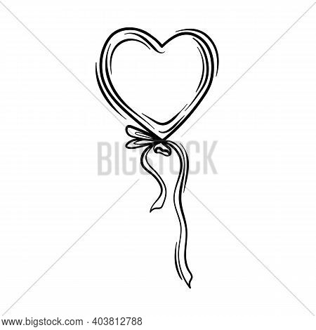 Valentines Day Theme Doodle Vector Icon Of Hand Drawn Ballon With Heart Shape On A White Background.
