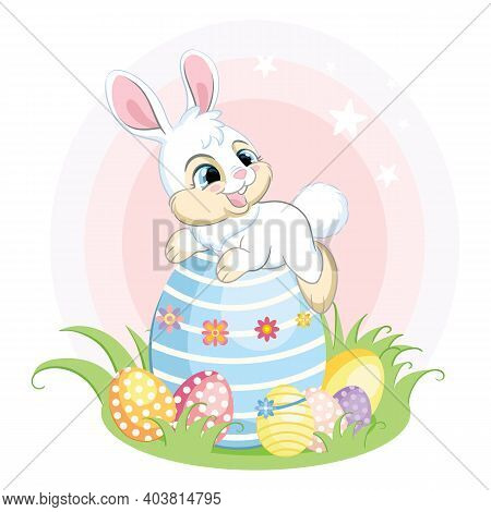 Cute White Bunny Character Lying On A Big Easter Egg. Colorful Illustration Isolated On White Backgr