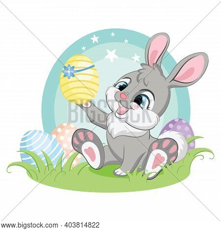 Cute Gray Bunny Character Admiring The Easter Egg. Colorful Illustration Isolated On White Backgroun