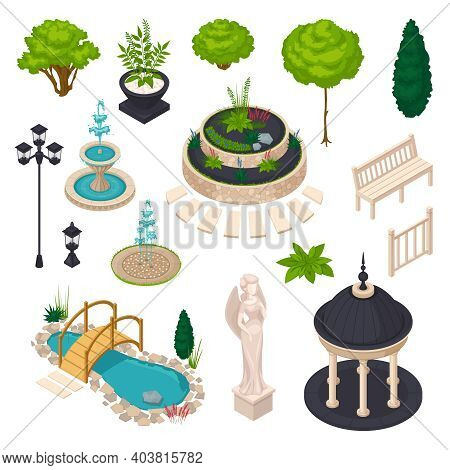 Isometric Elements For City Landscape Constructor With Bench Gazebo Statue Streetlight Flowerbed Lak
