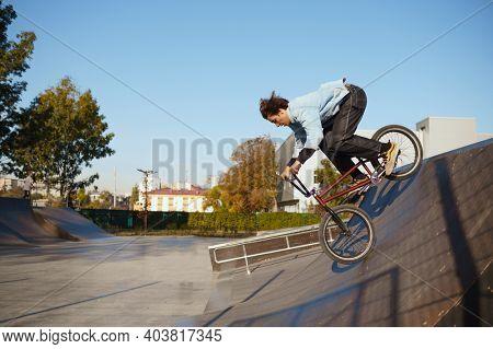 Bmx biker doing trick on ramp in skatepark