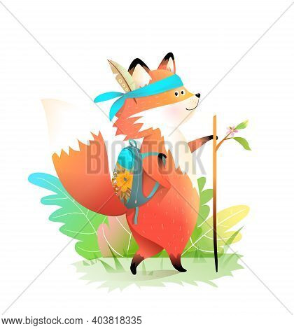 Fox Little Explorer Go For Adventures With Backpack And Stick, Wearing Feather. Cute Animal Characte