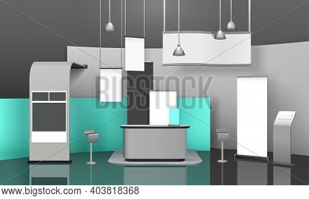 Advertising Exhibition Stand 3d Mockup With Futuristic Interior Suspending Lighting Fixtures And Emp