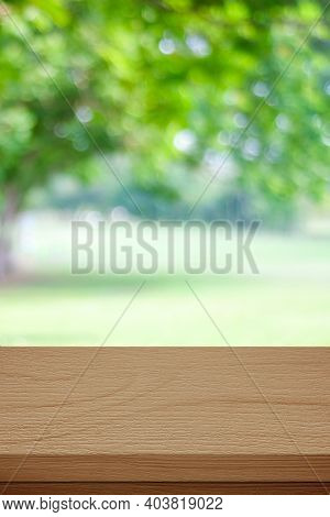Wooden Table For Food, Product Display Over Blur Green Garden Background, Empty Wooden Shelf, Desk A