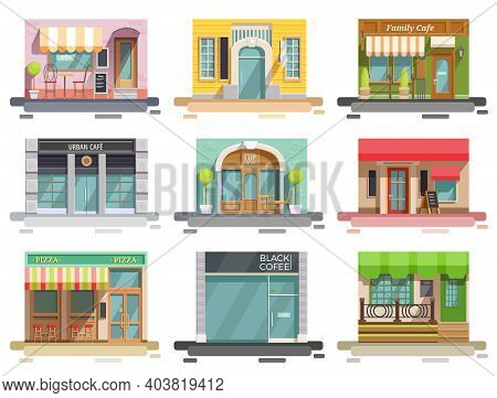 Cafe Flat Collection Of Nine Isolated Doodle Style Images With Storefronts And Different Interior De