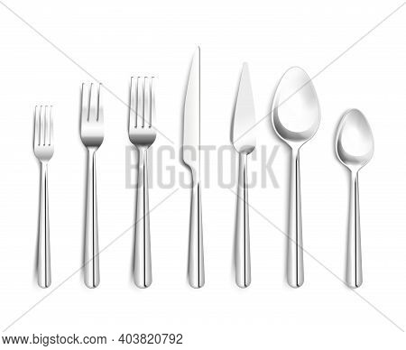 Realistic Shiny Silverware Top View 3d Design With Forks Knives Spoons On White Background Isolated