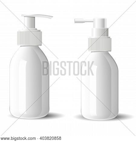 Pump Bottle Mockup. Cosmetic Spray Glass Bottle Blank. Glossy Container For Beauty Serum With Pump D