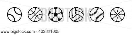 Icons Of Sport Balls. Balls For Tennis, Soccer, Basketball, Volleyball, Football, Baseball, Rugby An
