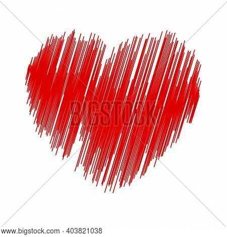 Pen Painted Valentine Heart Isolated On A White Background. Eps10 Vector.
