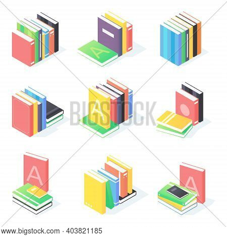 Books Stack Isometric Set. Collection Of Paperback Literature With Hardcover.