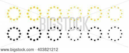 Star Icons In Circle. Gold And Black European Logos On White Background. Eu Flag. 12 Yellow Stars Fo