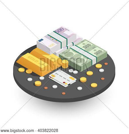 Payment Methods Round Isometric Composition With Gold Bars Cash Coins Green Banknotes And Credit Ban