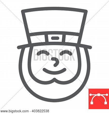 Leprechaun Irish Character Line Icon, St. Patricks Day And Holiday, Leprechaun Vector Icon, Vector G