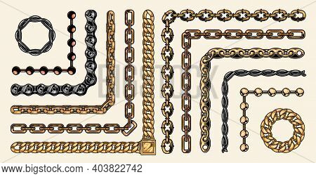 Colorful Collection Of Chain Pattern Brushes Of Different Structures In Vintage Style Isolated Vecto
