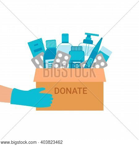 Medical Items Donation To People. Cardboard Box Of Drugs And Tablets For Needy. Humanitarian Aid. Ch
