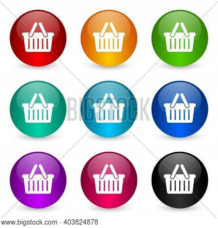 Shopping Basket Icon Set, Colorful Glossy 3d Rendering Ball Buttons In 9 Color Options For Webdesign