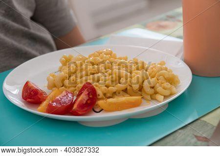 Italian Pasta Cavatappi With Cheese And Cherry Tomatoes